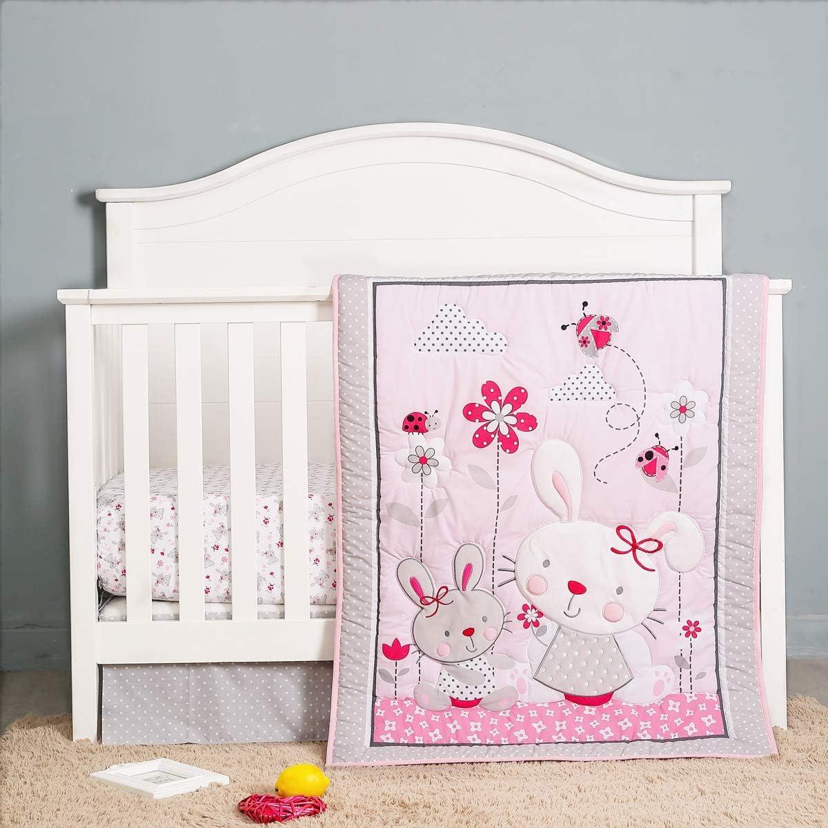 Floral Garden Baby Nursery Crib Bedding Sets for Girls 3 Piece Pink Grey,Crib Comforter, Fitted Sheet,Crib Skirt