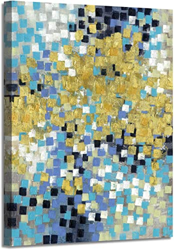 Abstract Painting Canvas Wall Art Gold Squares Picture Hand Painted Artwork on Canvas for Office 18 x 24 x 1 Panel