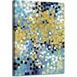 Abstract Painting Canvas Wall Art: Gold Squares Picture Hand Painted Artwork on Canvas for Office (18'' x 24'' x 1 Panel)