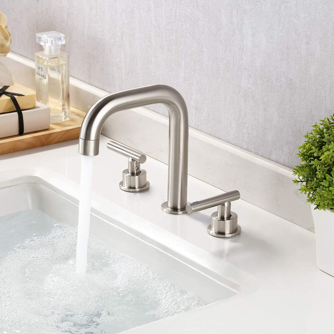 Kes Bathroom Faucet Brushed Nickel Sink Faucet Widespread 8 Inches 3 Hole Vanity Faucets Modern Lead Free Brass With Supply Hoses L4317lf Bn Amazon Ca Tools Home Improvement