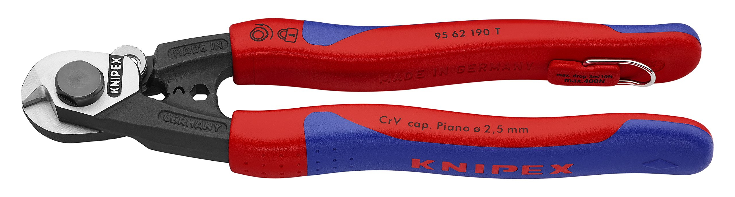 Knipex Tools 95 62 190 T BKA 7 1/2'' Wire Rope Cutters, Tether Attachment-Comfort Grip, by KNIPEX Tools (Image #1)