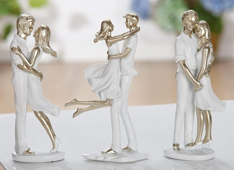 Gr/ö/ße 15 x 6 x 4 cm Themen Figur G.H durch wundervolles Design in Szene gesetzt Skulptur SOMMERP/ÄRCHEN Farbe Weiss /& Gold Modell Umarmung aus lackiertem Kunststein