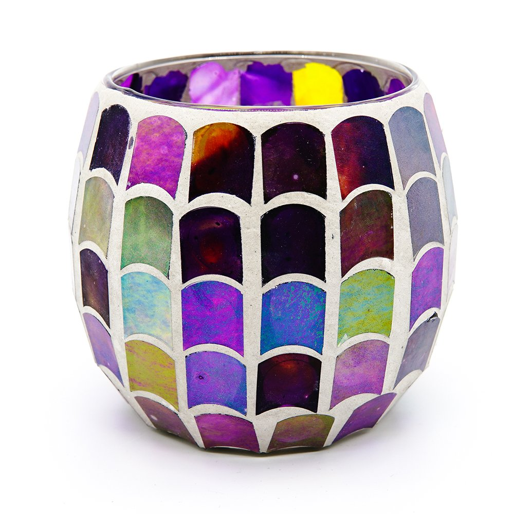 AWEVILIA Fish Scale Multicolor Mosaic Glass Bowl Candle Holders Votive Tealight Candleholders Party Decor