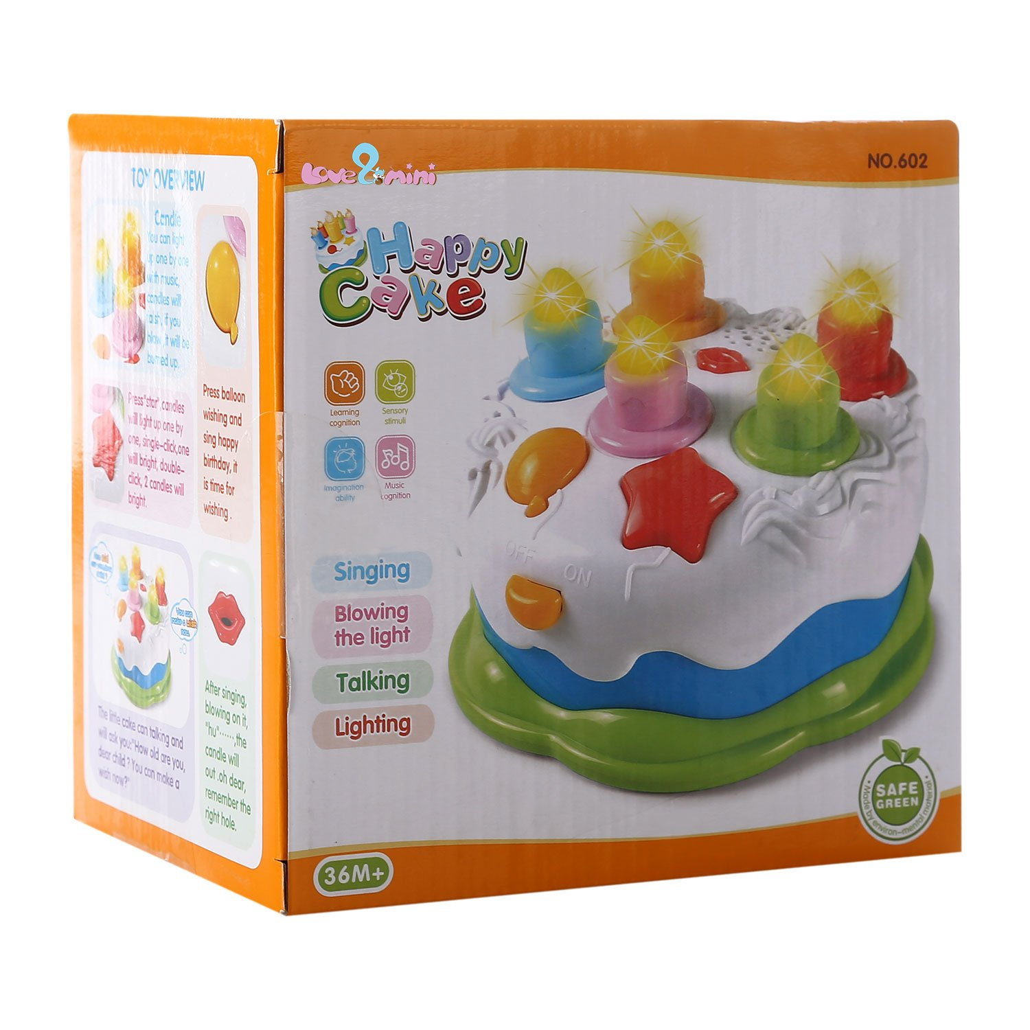 Baoli Kids Birthday Cake Toy with Candles Music Pretend Play Food for 1-5 Years Old