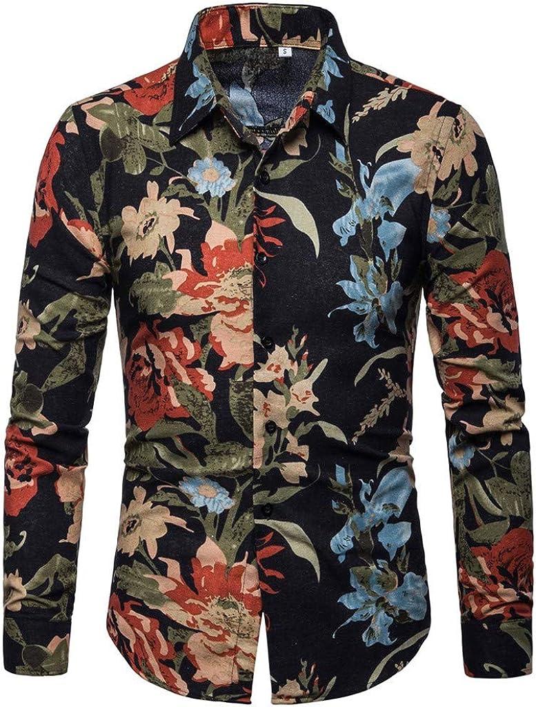 Mens Shirt Stylish Slim Fit Button Down Long Sleeve Floral Shirt