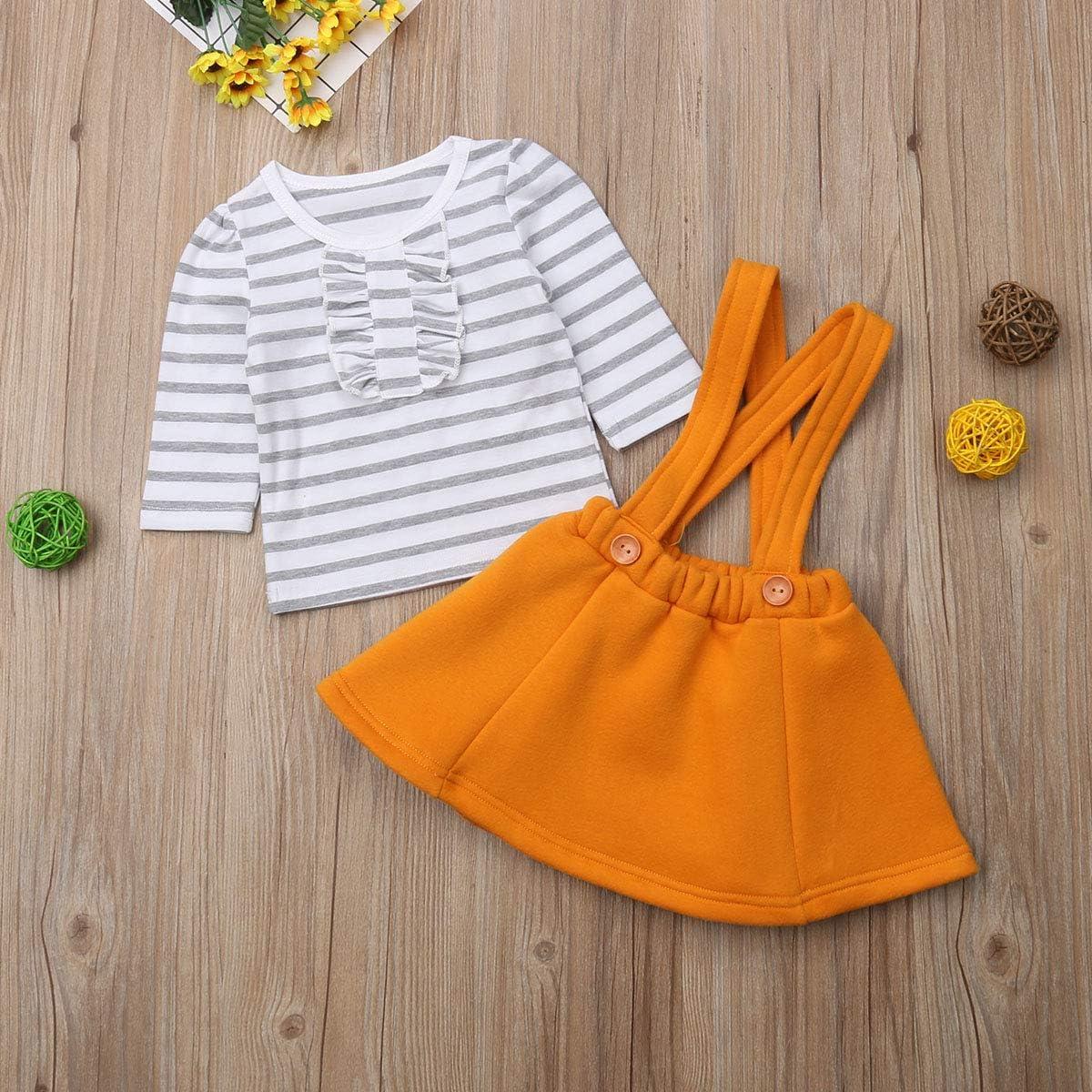 Suspender Skirt Clothing Set Toddler Baby Girls Striped Ruffle Cotton T-Shirt Tops