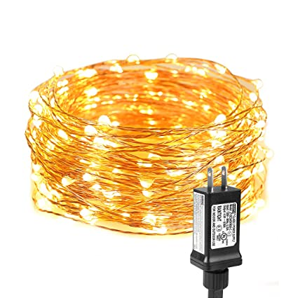 le fairy lights, waterproof, 33 ft 100 led, plug in, soft warm white,  indoor outdoor decorative copper wire