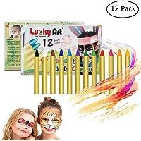 Hip Mall 12 Colores crayones para Pintar la Cara, crayones Seguros y no tóxicos para la Cara y el Cuerpo, Kits de Pintura para la Cara Lavables