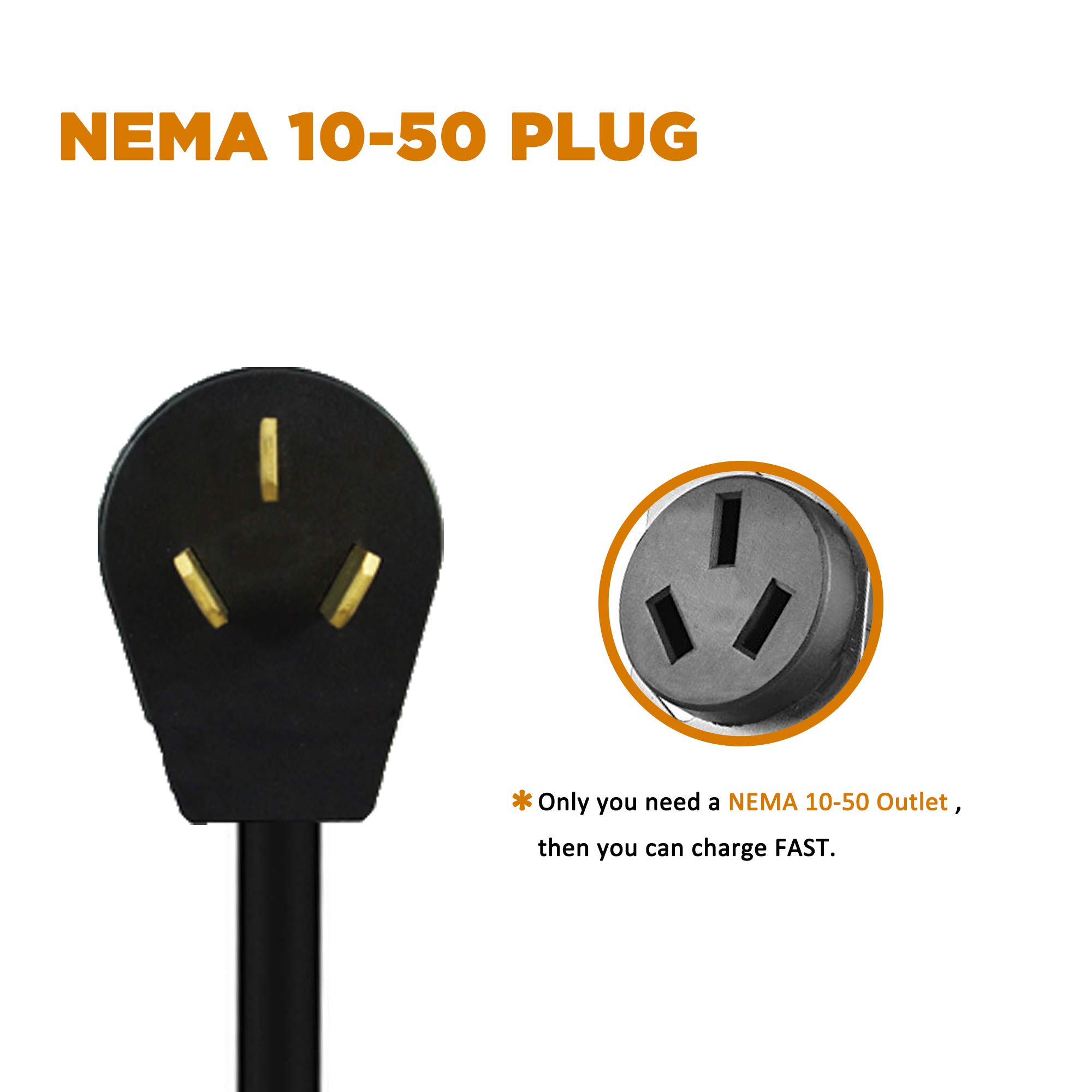 MUSTART Level 2 Portable EV Charger (240 Volt, 25ft Cable, 40 Amp), Electric Vehicle Charger Plug-in EV Charging Station with NEMA 10-50P by MUSTART (Image #5)