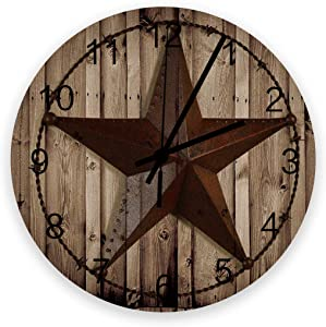 Art Wooden Wall Clock for Living Room Decor,Western Texas Star Rustic Wood Grain Chic Silent Battery Operated Hanging Office Wall Clocks