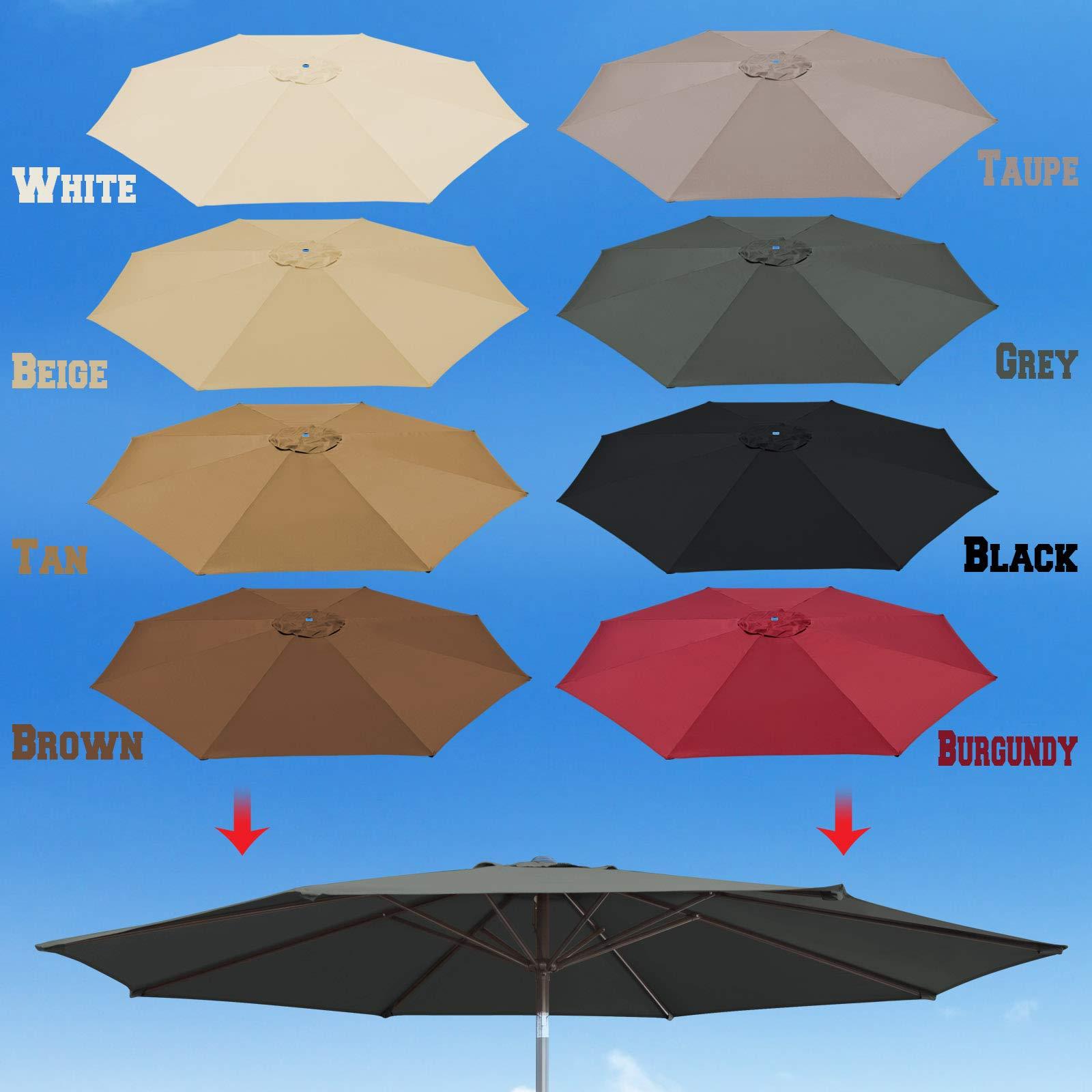 BenefitUSA 10' Umbrella Canopy Top Cover Patio Replacement Top Cover 8 Ribs Outdoor Sunshade (Grey)