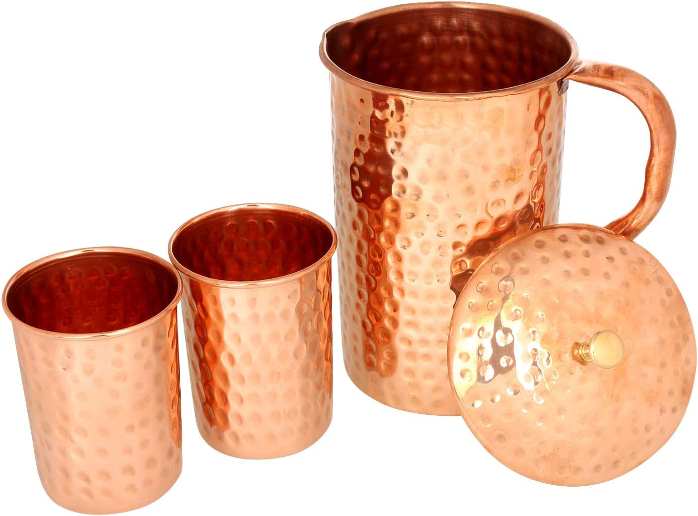 2 X Copper hammered Water glass big water Serving Glass FREE SHIPPING