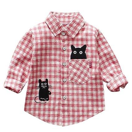 feiXIANG Ropa de bebé recién Nacido bebé niño Manga Larga de Dibujos Animados Gato Camisa a