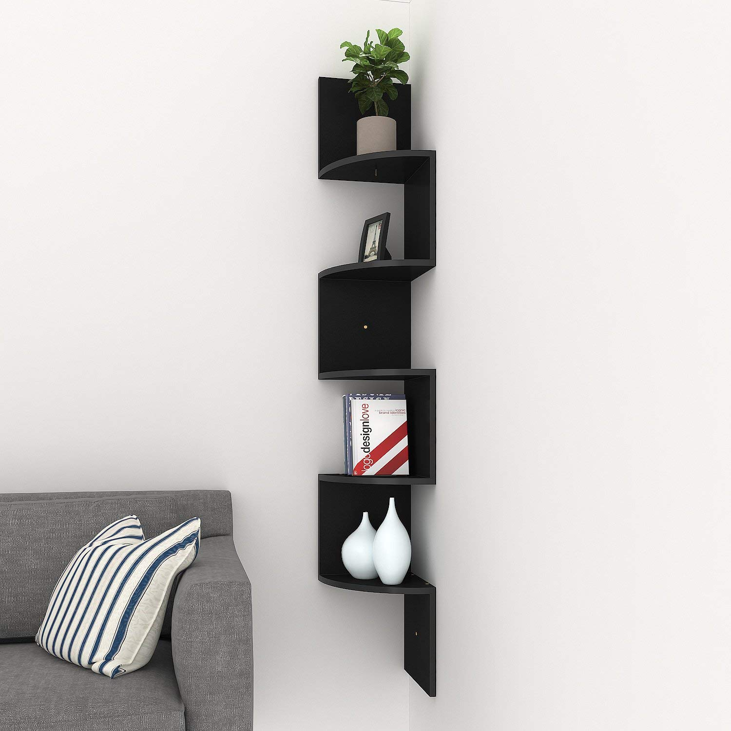 Homdox Corner Shelf, 5 Tier Corner Shelves Zig Zag Wall Mount Shelves  Floating Shelves for Living Room, Bedroom, Bathroom, Office, Kitchen (Black)