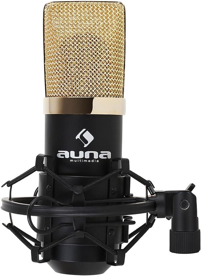 Auna Mic 900bg Kondensator Mikrofon Usb Mikrofon Studio Niere Für Pc Mac Inkl Mikrofonspinne Und Stativ Adapter Schwarz Gold Musikinstrumente