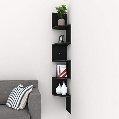 Homdox Corner Shelf, 5 Tier Corner Shelves Zig Zag Wall Mount Shelves Floating Shelves for Living Room, Bedroom, Bathroom, Office, Kitchen (Black)