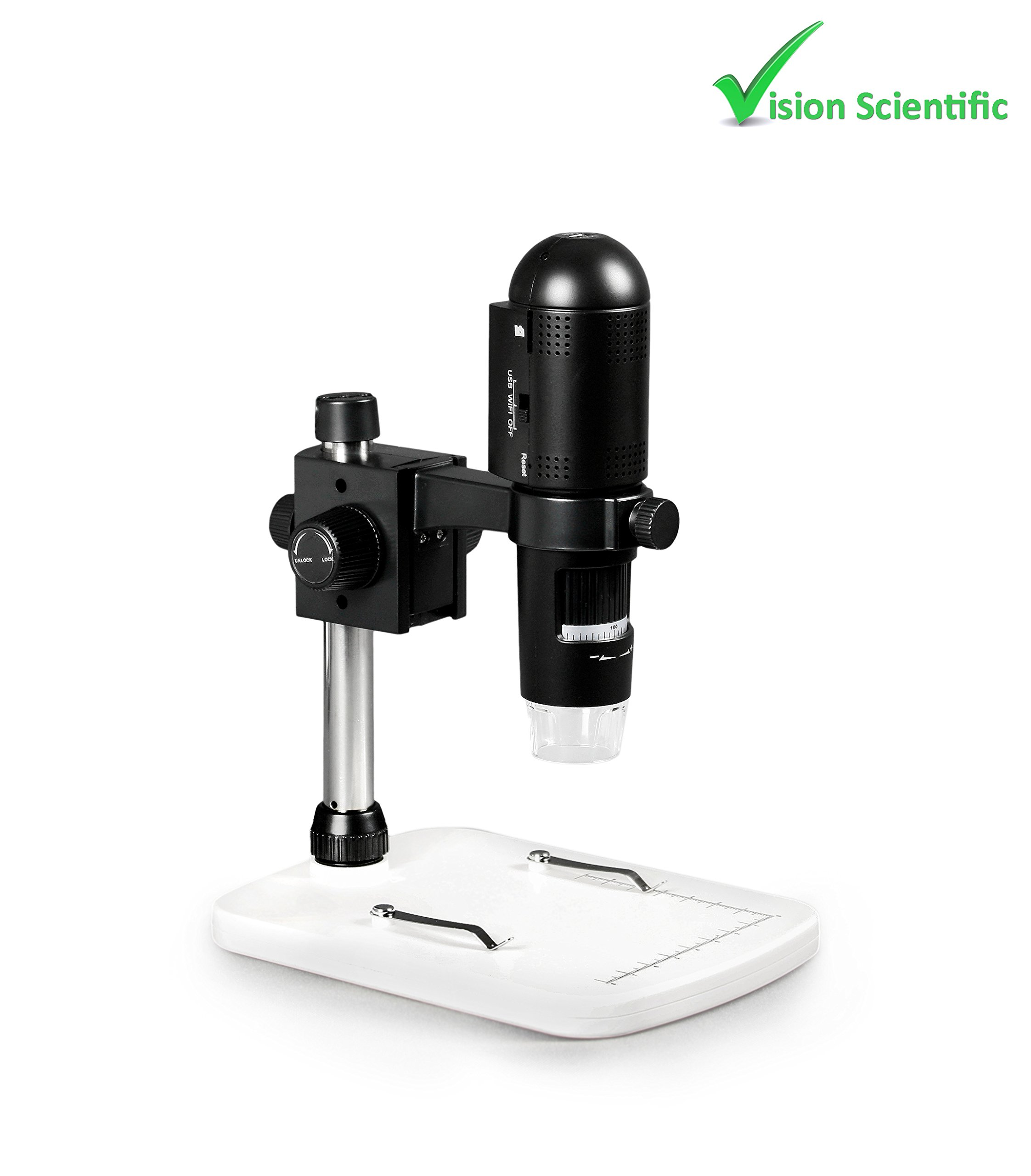 Vision Scientific VMD003 1080P Full HD Wi-Fi Digital Microscope with 3MP Image Sensor, 220x Magnification, 6 LED Illumination with Intensity Control, USB, iOS/Android/PC Compatible by Vision Scientific