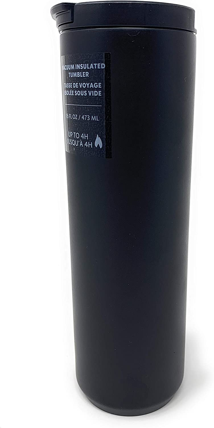 Starbucks Matte Black Double Walled Vacuum Insulated Stainless Steel Tumbler, 16 Oz