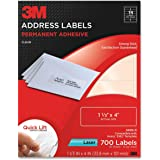 3M Permanent Adhesive Address Labels, 1.33 x 4 Inches, Clear, 700 per Pack (3400-D)