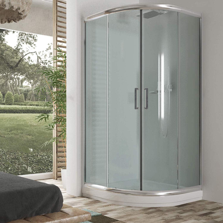 Cabina de ducha semicircular 90 x 90 x 198 cm, cristal estampado de 6 mm: Amazon.es: Bricolaje y herramientas