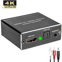 Snxiwth HDMI Audio Konverter 4K Konverter HDMI zu HDMI + Optisches SPDIF mit 3,5-mm-Stereo-HDMI Audio-Extractor | HDMI zu SPDIF Konverter Splitter | für TV Blu-ray Player