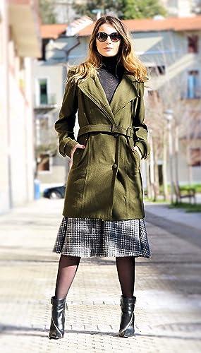 Abrigo Mujer - Abrigo Lana - Abrigo Ligero - Abrigo Verde - Alta Calidad