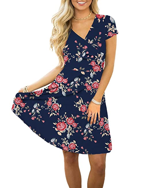 e4c469933cf3 Swiland Women V Neck Short Sleeve Floral Printed Casual Retro Wrap A Line  Dress at Amazon Women s Clothing store