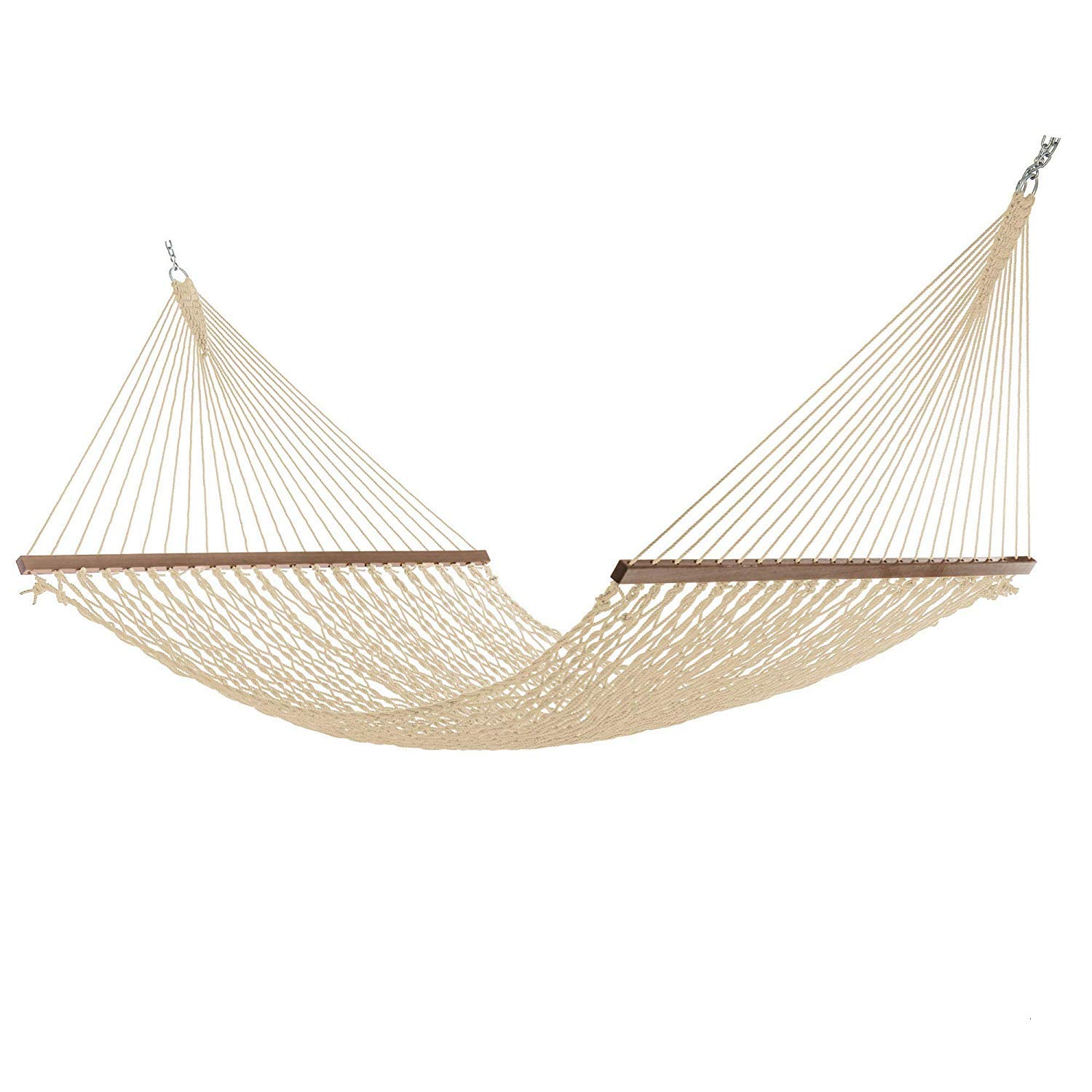 Outdoor Essentials Large DuraCord Rope Hammock, Quick Dry Rope Hammock with Double Size Solid Wood Spreader Bar Outdoor Patio Yard Poolside Hammock with Chains, 2 Person 450 Pound Capacity