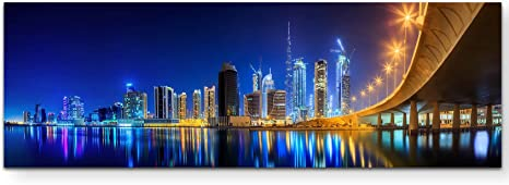 Bild auf Leinwand Dubai Skyline Dusk Uae Wandbild Poster Leinwandbild
