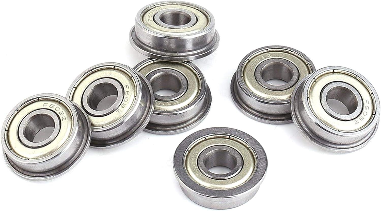 JOJOZZ Flanged Miniature Ball Bearings Durable Flange Bearing Outer Ring Ribs 10Pcs 8 22 7mm