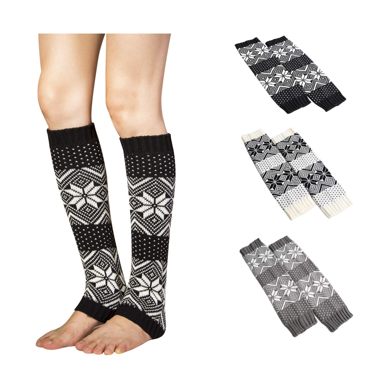 aa85372e2 Bestjybt Womens Crochet Knitted Leg Warmers Long Boots Socks Boot Cuffs (3  Pairs-Style 03)
