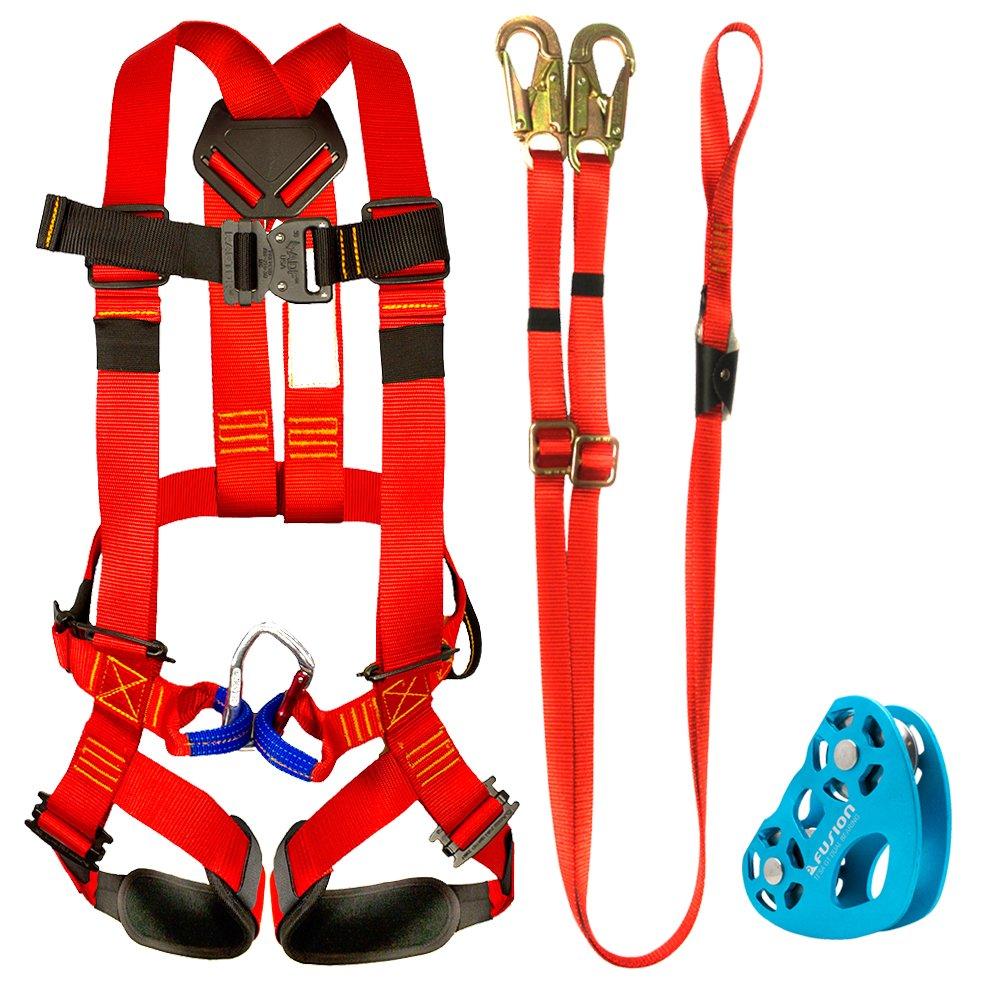 Fusion Climb Kids Backyard Zip Line Kit Harness Lanyard Trolley Bundle FK-K-HLT-03