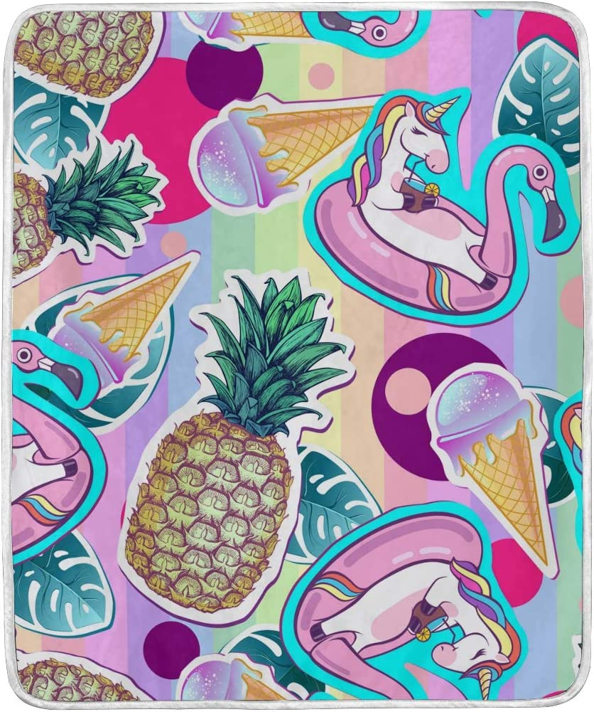 Amazon Com Wihve Plush Blanket Cute Unicorn Pineapple Flamingo Tropical Leafs Throw Blanket Soft Blanket 50 X 60 Inch Home Kitchen