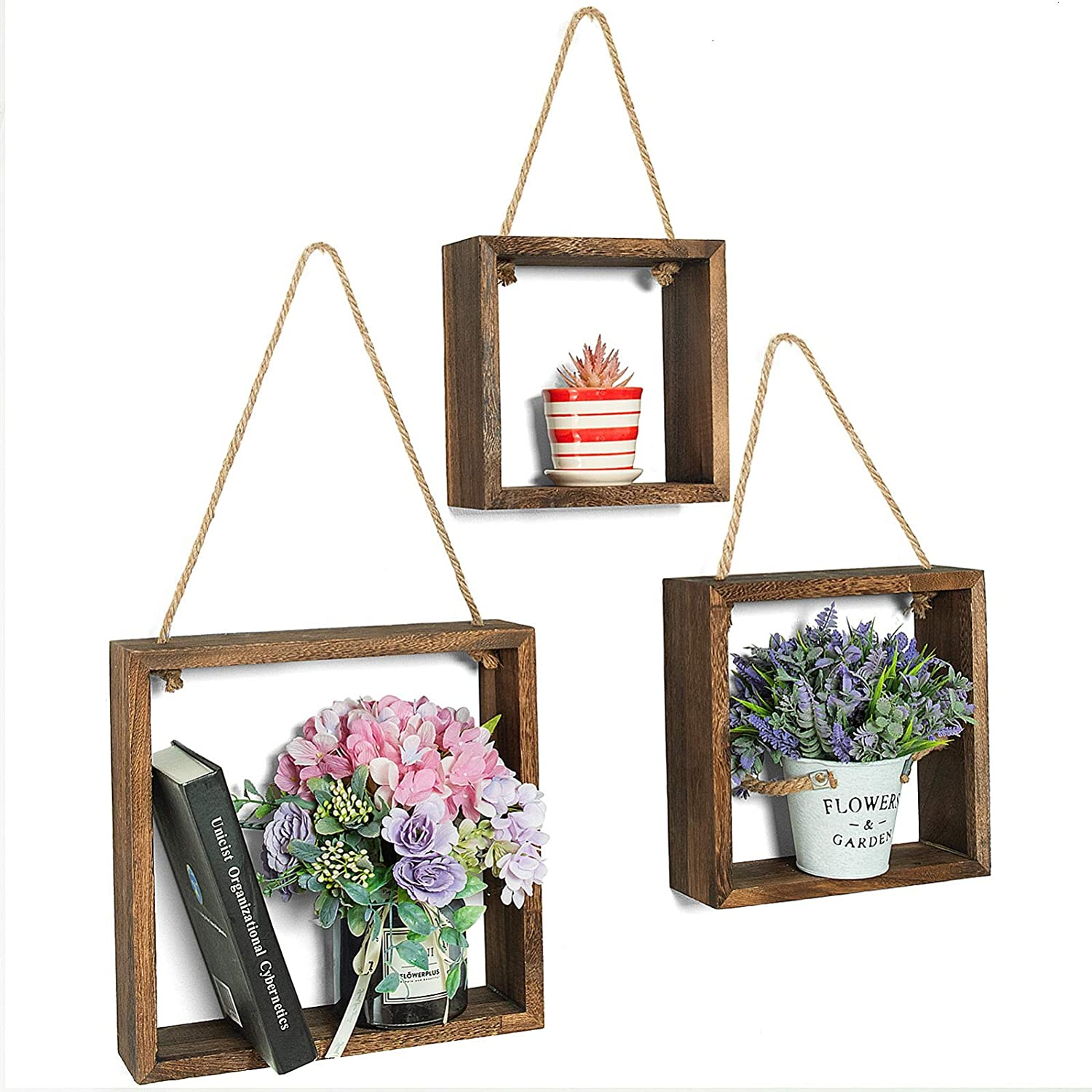 COYMOS Hanging Shelves Square Hanging Plant Shelf Indoor Wall Hanging Wall Shelves for Bedroom Rustic Wall Decor for Office Living Room Bathroom Kitchen Set of 3- Brown