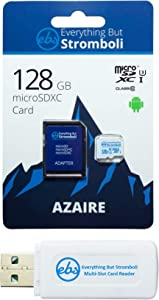 Everything But Stromboli 128GB Azaire MicroSD Memory Card & Adapter Works with Samsung Galaxy Phones Note Series Note 8, Note 9, Note 10+ Speed Class 10, U3, UHS-1, SDXC Plus 1 Micro & SD Card Reader