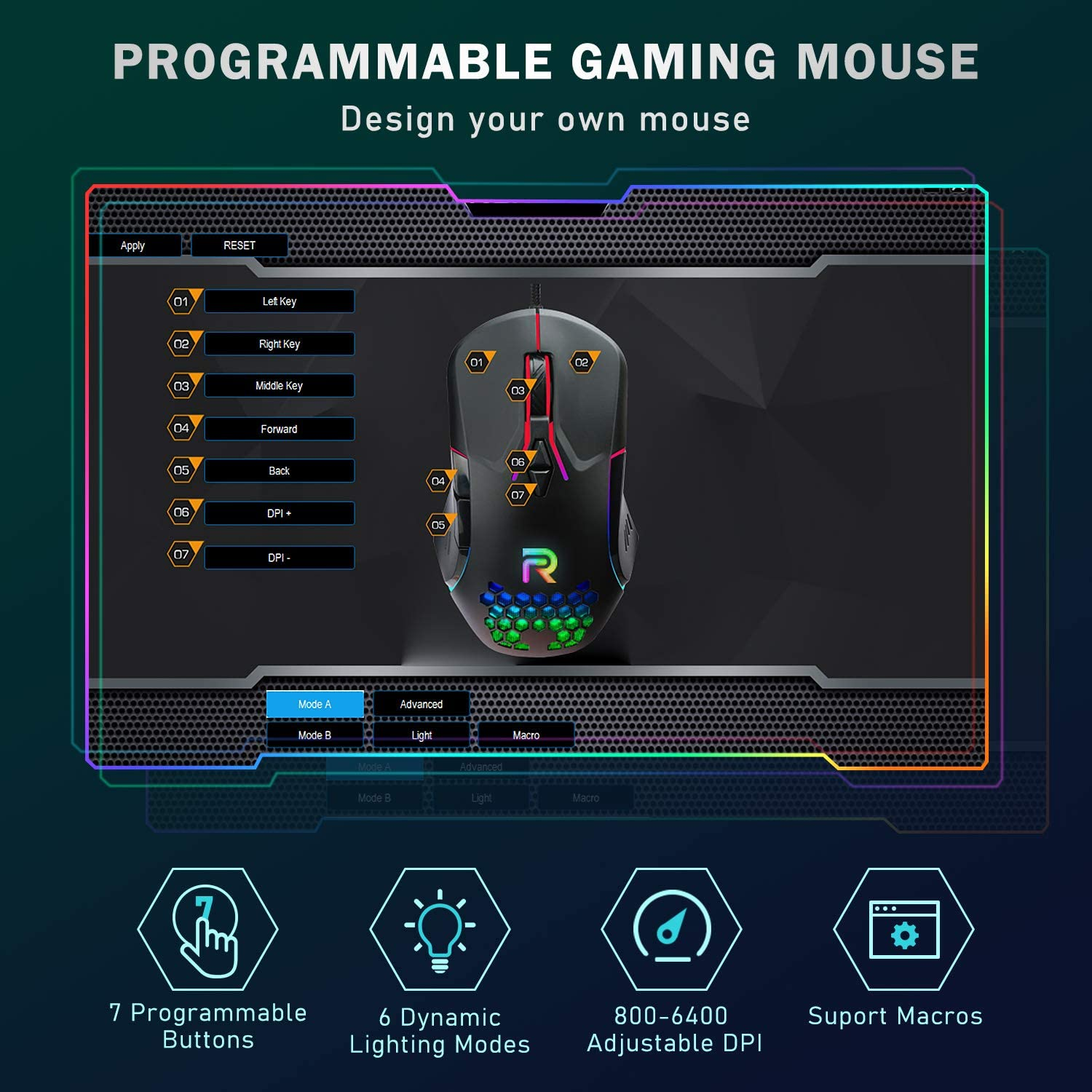 RUNMUS Gaming Mouse with 7 Programmable Buttons, Chroma RGB Backlight & 6400 Adjustable DPI, Ergonomic USB Computer Mouse with High Precision Sensor for Windows PC & Laptop Gamers, Mouse for Laptop: Computers & Accessories