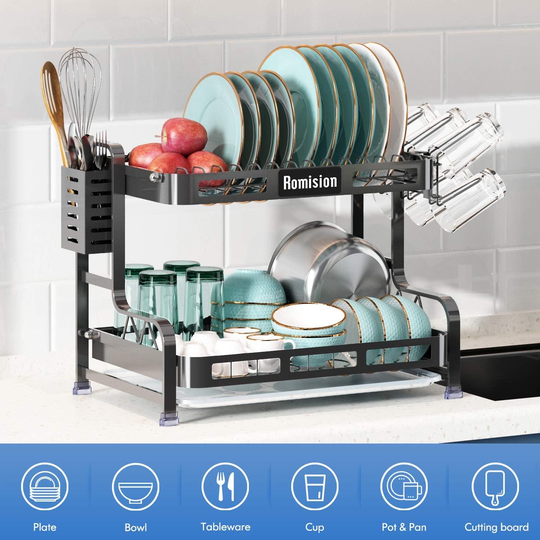 Kitchen Dish Rack Plates Bowl Drying Organizer Holder Drainer Stainless Steel US