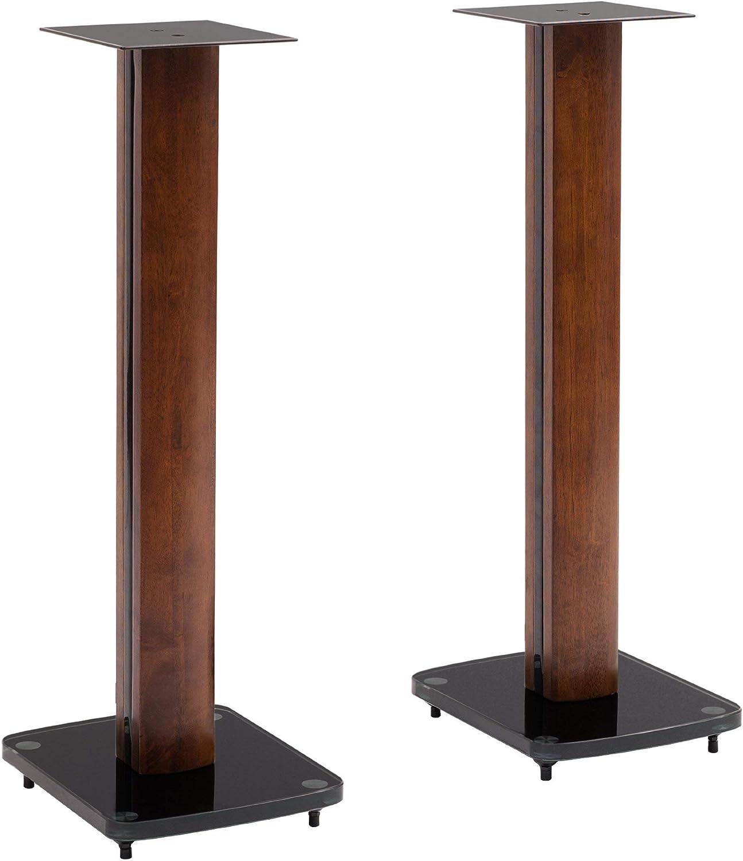 "TransDeco Glass Speaker Stand, 30"", Dark Oak/Black"