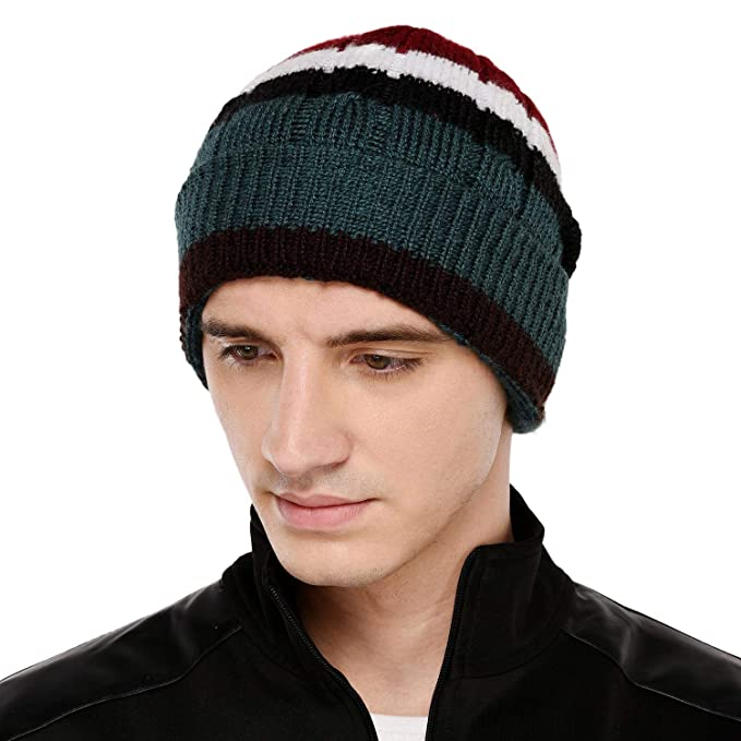 12bacc0e074 VR Designers Multi Color Stripes Winter Woolen Cap for Men and Women   Amazon.in  Clothing   Accessories