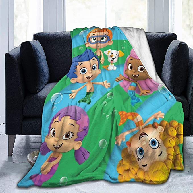 """Amazon.com: JosephHenkle Soft Micro Fleece Blanket Bubble Guppies Plush Throws Blanket for Children Kids Boys Girls for Bed Sofa Couch Chair Car Travel Beach Lightweight for All Season Gift 80""""x60"""": Home & Kitchen"""