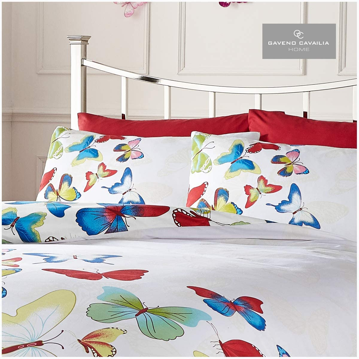 1 Quilt Cover and Fitted Sheet with 2 Matching Pillow Cases Gaveno Cavailia Modern Bedding Double Complete Set Butterfly-Rainbow