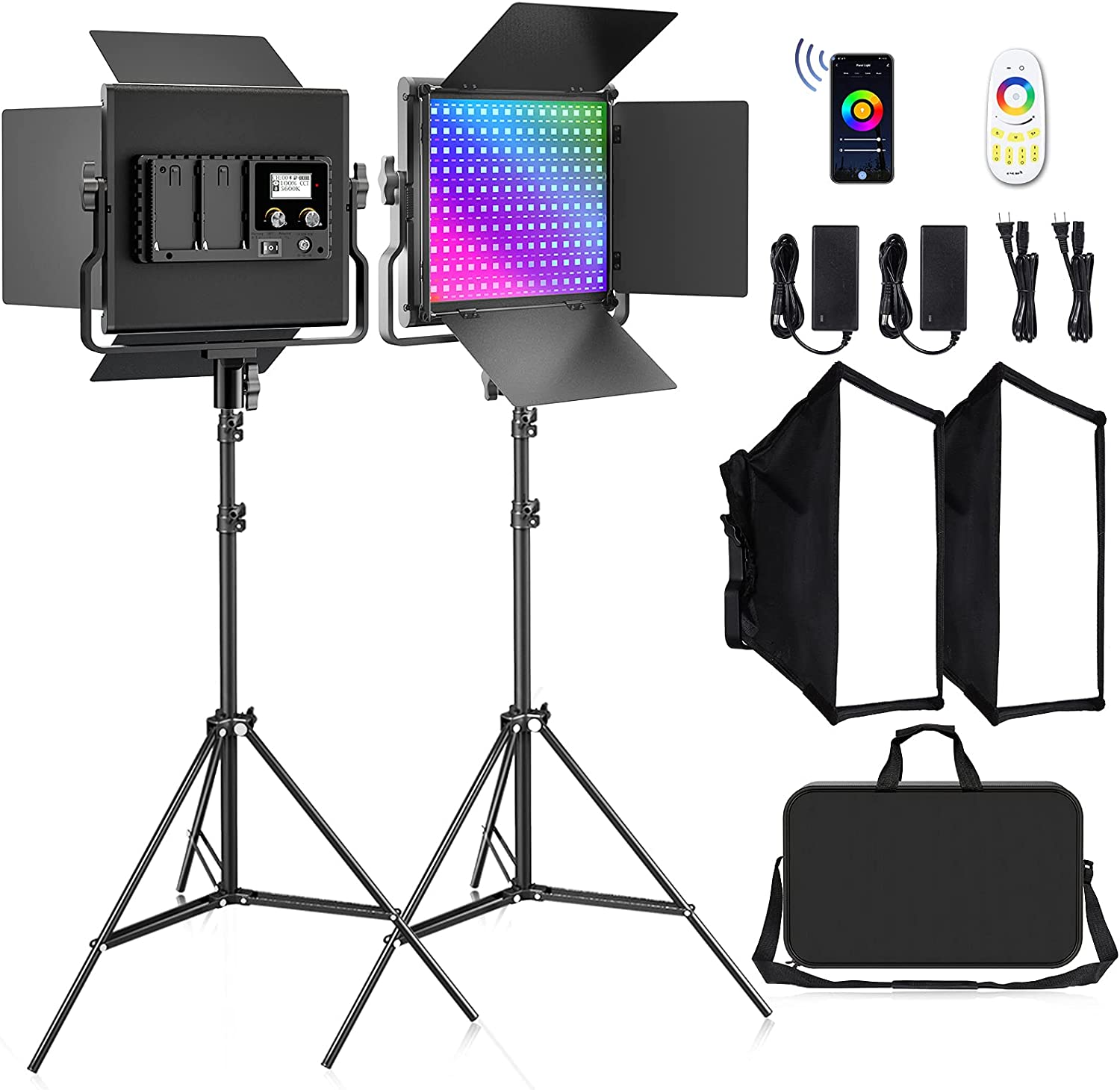 FOSITAN RGB LED Video Light, Video Lighting Kits with APP/Remote Control, CRI97/3200K-5600K/Brightness 0-100%/0-360 Adjustable Colors/8 Applicable Scenes Suitable for YouTube Video, Photography
