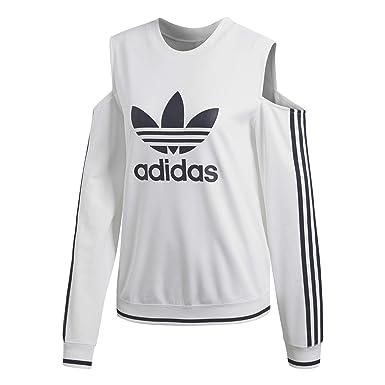 felpa adidas bianca con logo bianco