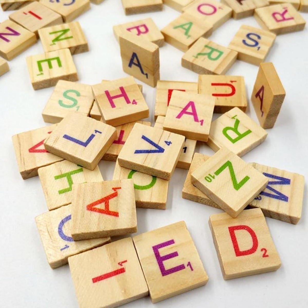 ishua 100 pcs alfabeto Scrabble Ornements carta madera para trabajos manuales Scrabble en madera: Amazon.es: Bebé
