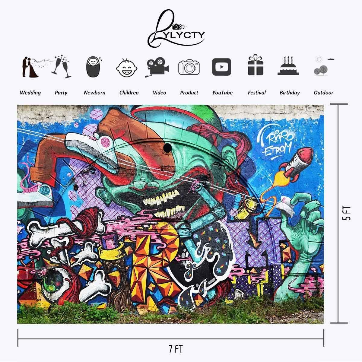 GoEoo 7x5ft Graffiti Backdrop Doodle Cartoon Art Photography Backdrop Art Studio Background Props Abstract Art Mural LYGE1009