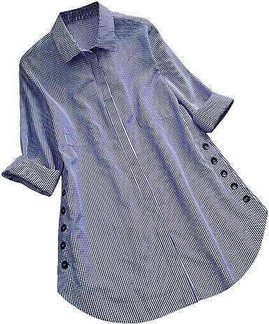 Blusa de Mujer Sexy Covermason Camisa de Manga Larga de Las Mujeres del botón del Enrejado de la Camisa de Las Tapas Ocasionales Flojas Blusa del tamaño Extra Grande: Amazon.es: Ropa y