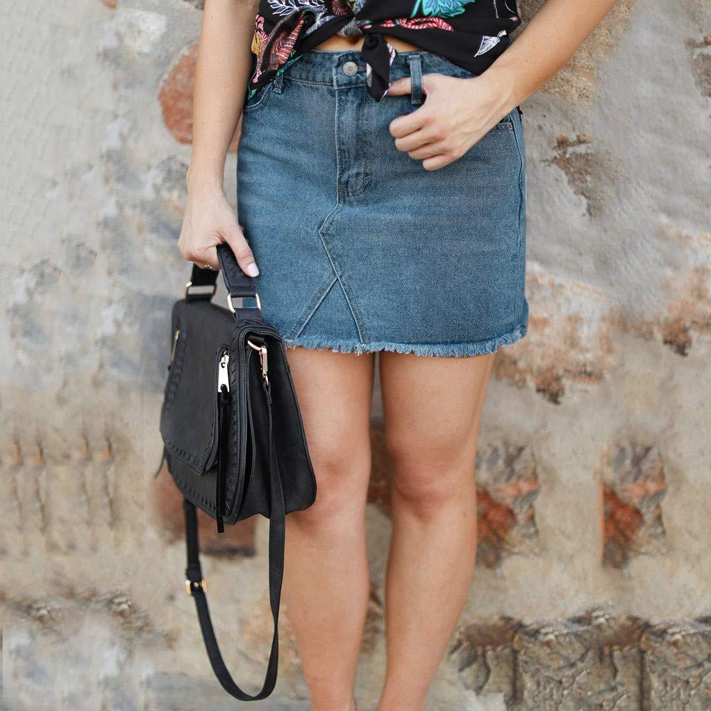 Pervobs Women Fashion Modern Denim Skirt Button Zipper Fly Open Boot Cut Mini Skirt Shorts with Pockets(2XL, Blue) by Pervobs Women Pants (Image #3)