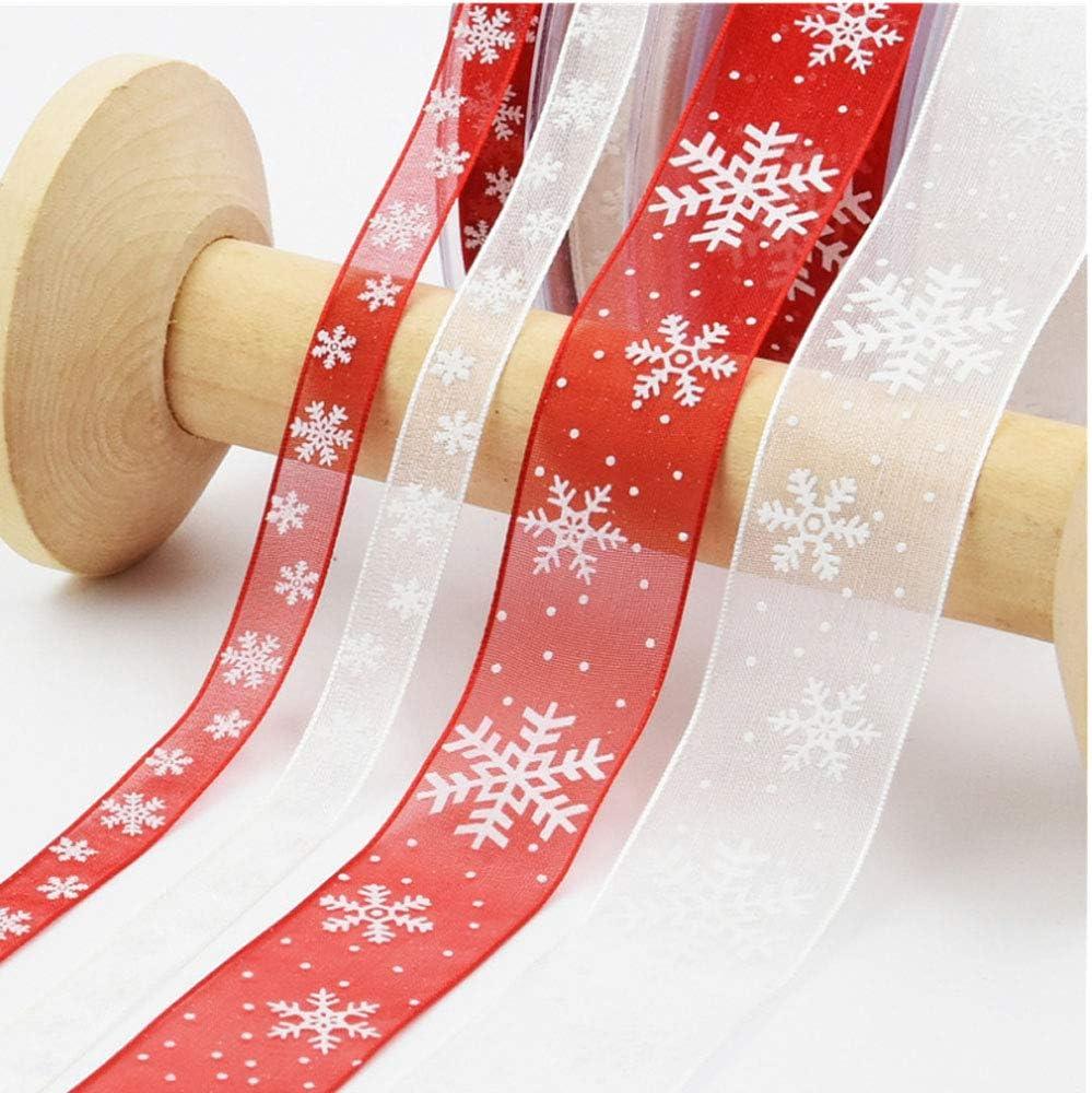 Rot Gsyamh Weihnachtsband Decor Schneeflocke Band Dekorative F/ür Haarb/ögen Ripsband Weihnachten Polyester Dekorationswerkzeuge Geeignet F/ür Die Dekoration des Hausgarten F/ügen Sie Atmosph/äre Hinzu