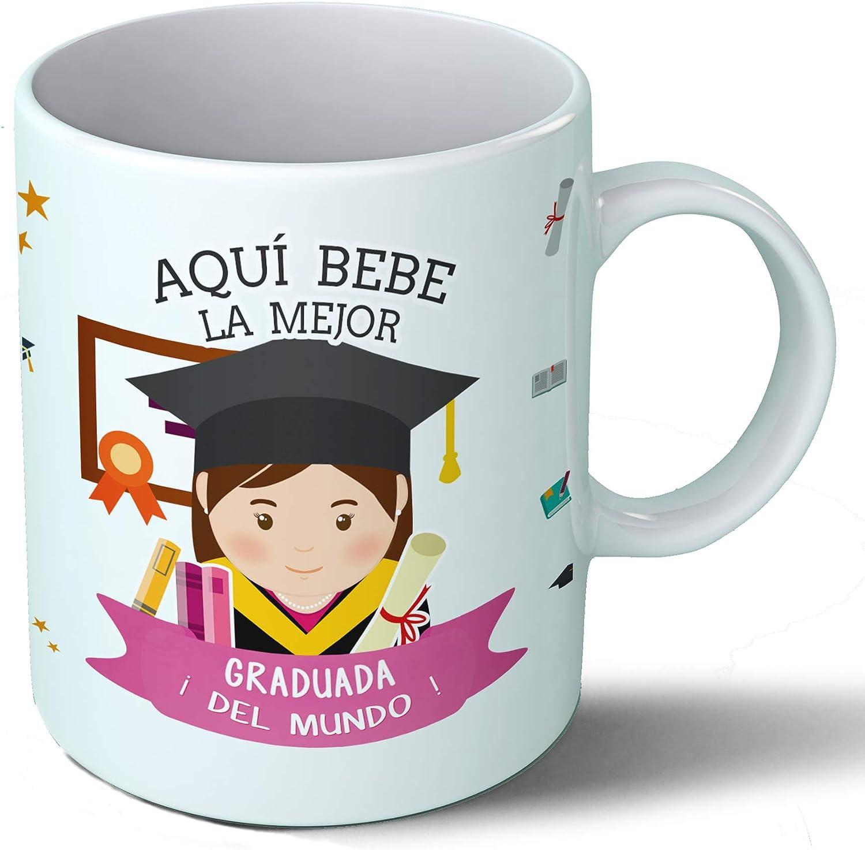 Planetacase Taza Desayuno Aquí Bebe la Mejor graduada del Mundo Regalo Original graduación Fin de Carrera Ceramica 330 mL