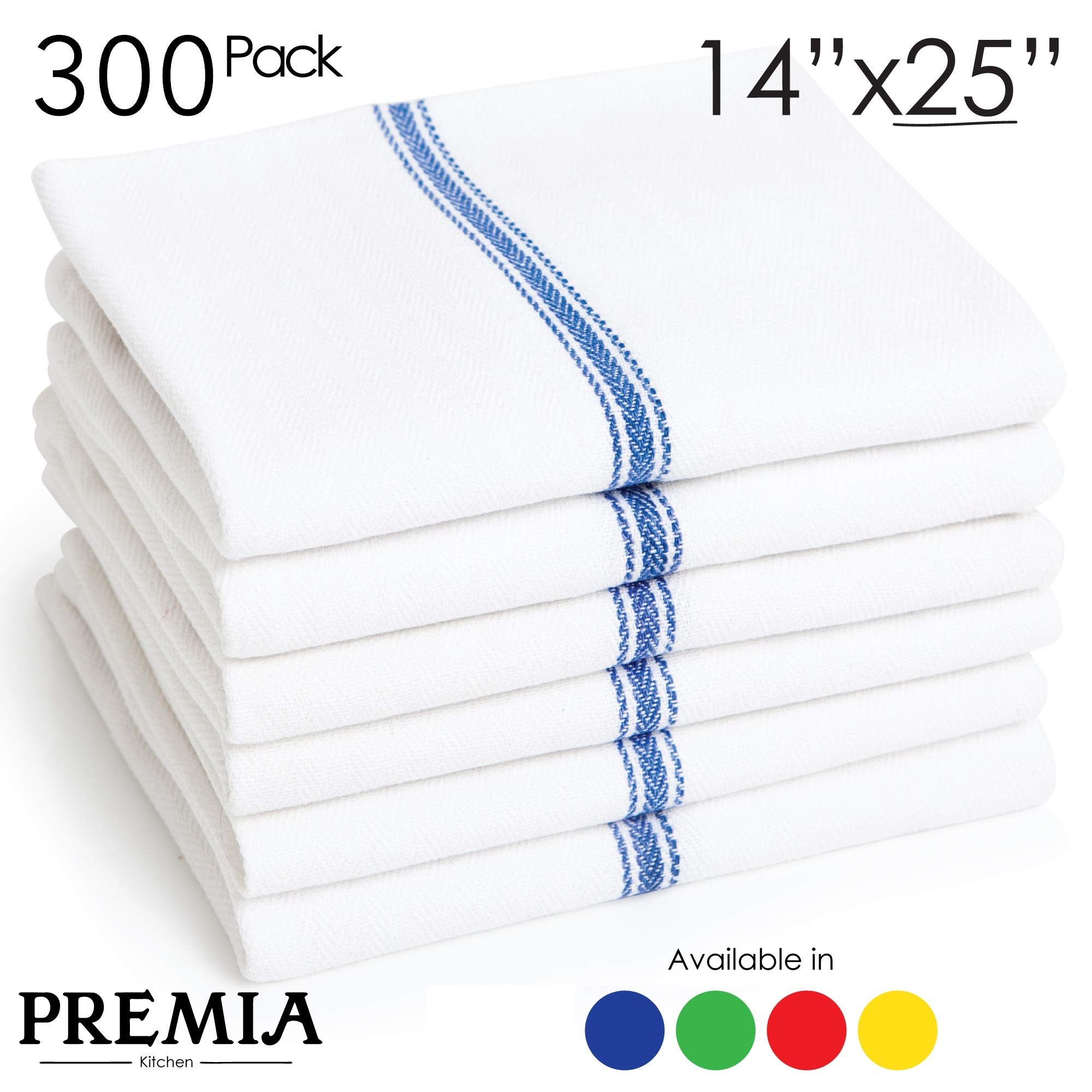 Bulk Economy Wholesale Kitchen Dish Towels (300 Towels) - 100% Cotton Herringbone - Commercial Grade - Bleach Resistant - Restaurant Bar Mops - 24 oz/dz - White with Blue Stripes by Premia Kitchen